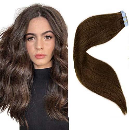 LaaVoo 18 Zoll Dark Brown Hair Extensions Tape Stuck 100% Echthaar Tape in Extensions Dunkelbraun Glatt Straight Glue in Skin Weft 50GR/20PC #4