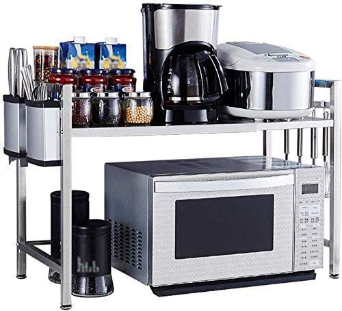Home Kitchen Rack RVS Punch-Free Kruidenrek Staande Magnetron Oven Keuken Storage Rack (Silver) 8bayfa