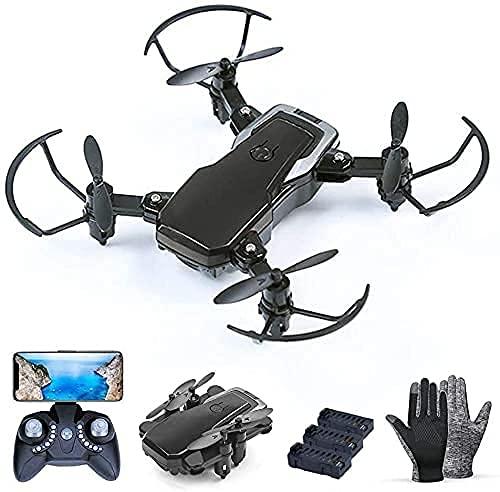 rzoizwko Drone, Drone RC, Equipado con cámara HD de 2 Millones, con 3 baterías, Quadcopter FPV WiFi RC Plegable, Suspensión de Altura Fija, 3 velocidades Ajustables para niños y Adultos (Color: Negro