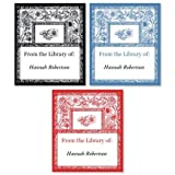 Personalized Toile Bookplates- Set of 144 Book Labels, 1-12' by 1-3/4'