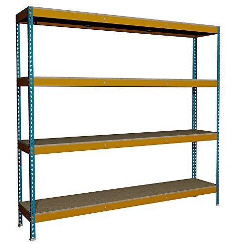 Estantería sin Tornillos Media Carga J600 con 4 niveles. Med. 2000x2100x450 mm. Color Azul/Naranja