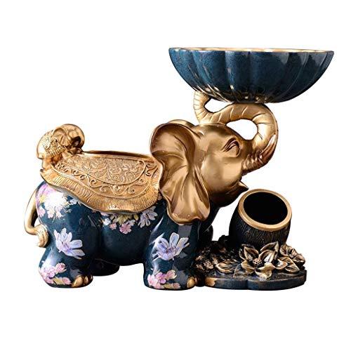 Tenedor de la cubierta de la caja del tejido del elefante de la resina para la sala de estar, la bandeja de la servilleta del dormitorio del dormitorio de la caja del dientes del tazón de fruta / azul