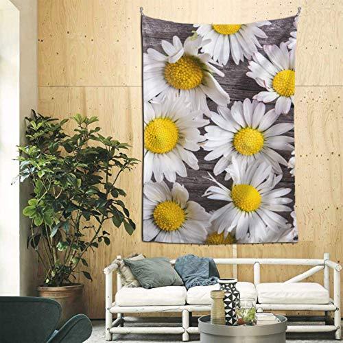 XiexHOME Tapices de 152 x 228 cm para decoración de pared, margaritas sobre mesa de madera vieja, decoración de pared para apartamentos dormitorios y habitaciones