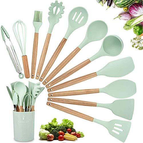 11 Piezas Utensilios Cocina de Silicona,Resistentes Al Calor Espátulas de Cocina Antiadherente con Mango de Madera,Cuchara sin BPA (Verde)