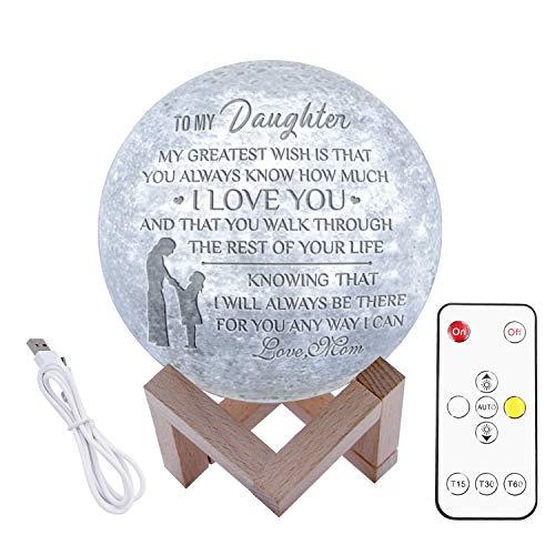Gravierte 3D-Mondlampe für Enkel, 3D-Druck-Mondlicht mit Stand- und Fernbedienung und Touch-Steuerung sowie wiederaufladbares, personalisiertes 3D-Druck-Mondlichtgeschenk (Zu meiner Tochter von Mama)