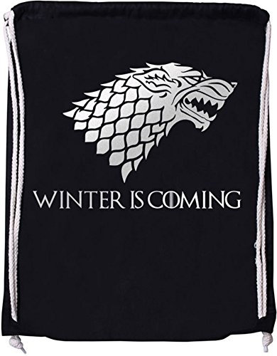 EZYshirt® Game of Thrones | Winter is coming | Schattenwolf Baumwoll Stoffbeutel