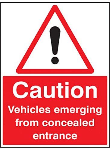Caledonia skyltar 17584QVarning fordon framträder från dold entré skylt, styv plast, 600 mm x 450 mm