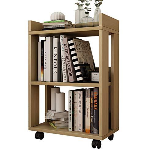 Librerie YANFEI Legno, Mobile, Ruota, mensola, Naturale, Bianca (Colore : Naturale)