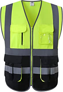 JKSafety 7 Pockets Class 2 High Visibility Zipper Front Safety Vest With Reflective Strips.Meets ANSI/ISEA Standards(Yellow-Black M)