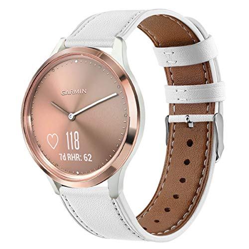 WATORY Ersatz für Garmin Vivomove HR Sport Armband, Quick Release Premium Echtleder Leder Ersatzarmband Uhrenarmband für Garmin Vivomove HR Sport/Vivomove HR Premium, Weiß