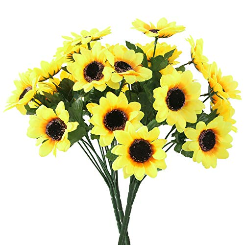 asika Artificial Sunflowers, Fake Flowers for Home Decoration Wedding Party Decor, 4 Large Bunches, 7 Flowers per Bunch, 12 ''Tall