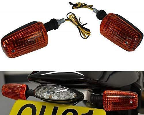 Preisvergleich Produktbild Blinker für Motorräder Quads Atvs & Trikes - 21W Birne - Schwarz mit Gelbe Gläser