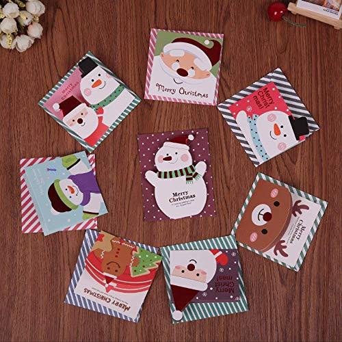 Wenskaarten BLTLYX 16 stks/partij Mini Cartoon Kerst Wenskaarten Gift Bericht Ansichtkaart Met Envelop Willekeurig Patroon 8,6 * 8,6 cm Willekeurig Patroon