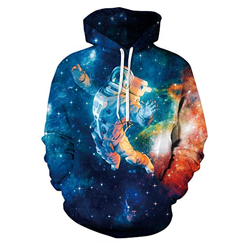 Novelty Graphic Hoodies for Kids Teens Boys Girls, Couple Unisex Astronaut in Outer Space 3D Printed Hoodie Pullover Sweatshirt Anime Cosplay Costume Christmas Funny Realistic Pocket Women Men Fashion