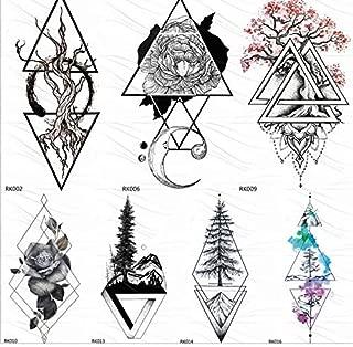 yyyDL Negro realista geométrico rosa flor triángulo tatuajes ...