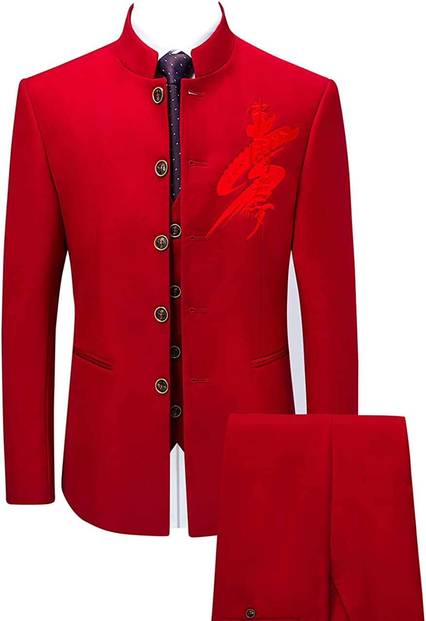 MOGU Fees free Mens Fixed price for sale Three Piece Stand Collar Chinese Suit Tang Style