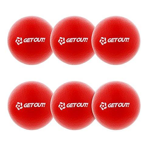 Get Out! Soft Dodgeball Balls - Latex-Free 6 Inch Playground Balls 6 Pack Red Dodgeball Foam Ball Set