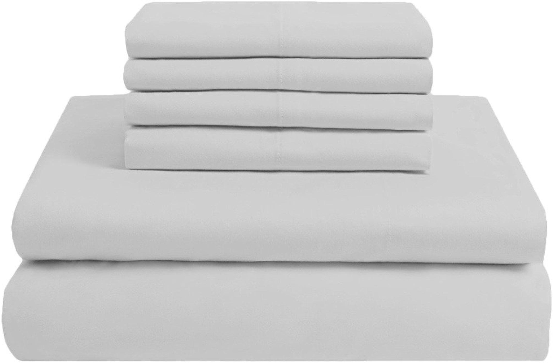 Scalabedding 100% coton égypcravaten 300fils 6pièces complète XL Taille Poche profonde de feuille solide gris clair