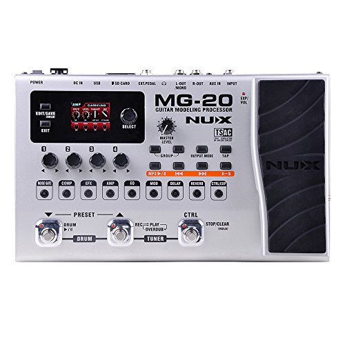 Nux MG-20 Electric Modeling Guitar Multi-Effects Floor Guitar Effects with Drum Machine and Looper Function.