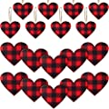 Jetec Valentine's Day Red Buffalo Plaid Ornament Red Plaid Hanging Ornament Wooden Heart Embellishment Heart Wooden Slice for Valentine's Day Holiday Party Decor (24 Pieces)