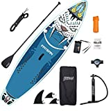 FAYEAN Inflatable Stand Up Paddle Board 10.5' x 32.5'x 6' Thick Round SUP ISUP Board Includes Pump, Paddle, Backpack, Coil Leash Waterproof Case (Tiger)