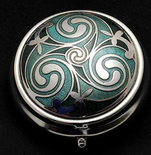 Sea Gems Pill Box in a Celtic Triskele Design. (Green)