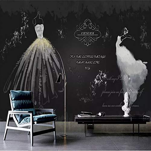 Leekkoka Muurschildering 3D Fotobehang Retro Wit Bruidsjurk Niet-geweven muurschildering Woonkamer Tv Achtergrond Muurstickers Home Muurdecoratie 210cm*140cm(H)
