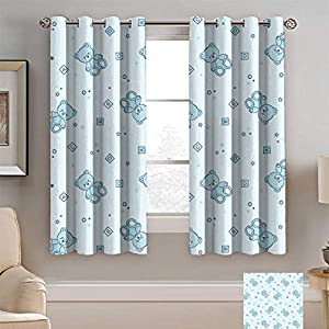 Crib Bedding And Baby Bedding Alexdemo Nursery Print Curtain, Teddy Bears And Toys With Letters On Children Imagery Baby Blue Background Window Treatments 2 Panels Set, Each Panel 48&Quot; Wx 84&Quot; L Baby Blue Aqua