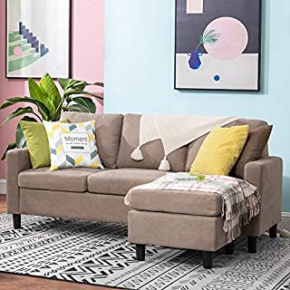 Walsunny Convertible Sectional Sofa Couch with Reversible Chaise, L-Shaped Couch with Modern Linen Fabric for Small Space (Dark Khaki)