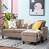 Walsunny Convertible Sectional Sofa for Small Space, L-Shaped Couch with Modern Linen Fabric (Dark Khaki)