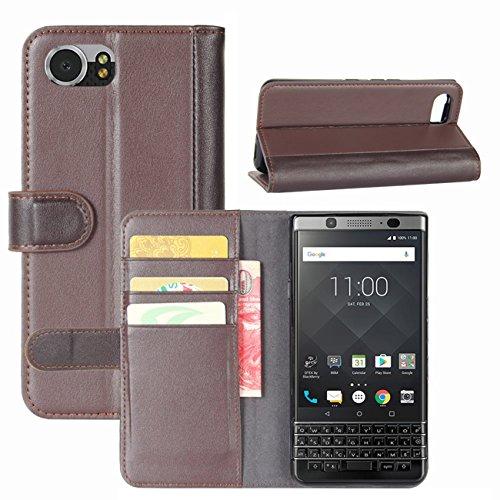 HualuBro BlackBerry KEYone Hülle, Leder Brieftasche Etui LederHülle Tasche Schutzhülle HandyHülle [Standfunktion] Handytasche Leather Wallet Flip Hülle Cover für BlackBerry KEYone - Braun