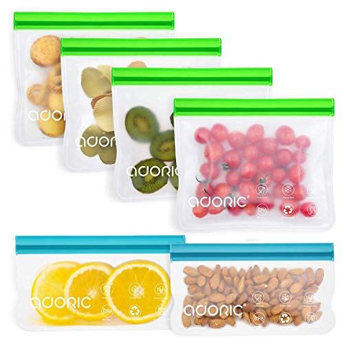 Adoric Reusable Snack Bags Silicone Food Storage Bags BPA Free Eco-Friendly Airtight Seal Ziplock Lunch Bag for Snacks Fruits Sandwiches4 Medium 2 Small