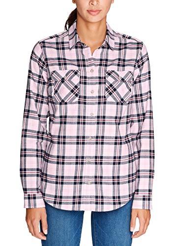 Eddie Bauer Damen Bluse Stine's Favorite Flanellbluse Karierte Langarmhemd Baumwolle Classic Fit Freizeit Karo, Violett (Rauchiges Lila 098) Medium (Herstellergröße: M)