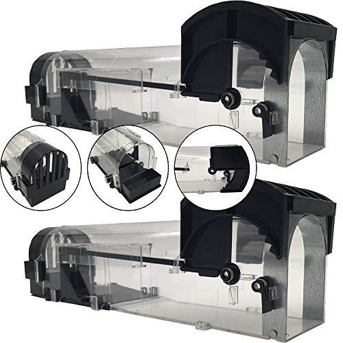 DILUMA Mausefalle Smart 2er Sparpack - Lebendfalle für Mäuse und Ratten - effektive und Wiederverwendbare Tierfalle Länge 32 Breite 8cm Höhe 9cm - tierfreundliche Falle mit Smart Lock
