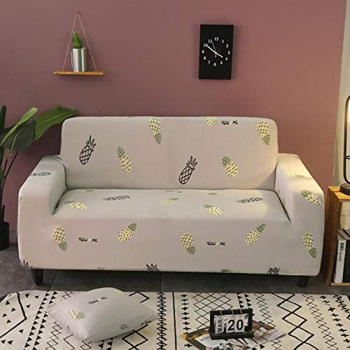 Sofa Cover Stretch Elastic Yellow pineapple Printed Sofa Slipcover 2 Seater Polyester Spandex Furniture Decorative Soft Loveseat Couch Covers Chair Protector for Pets Kids Sofa Covers