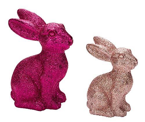 Juego de 2 figuras decorativas de conejos de Pascua con purpurina rosa y purpurina rosa, pareja de conejos, fiesta de Pascua, decoración de Pascua, primavera, Pascua, conejos de Pascua, madre e hijo