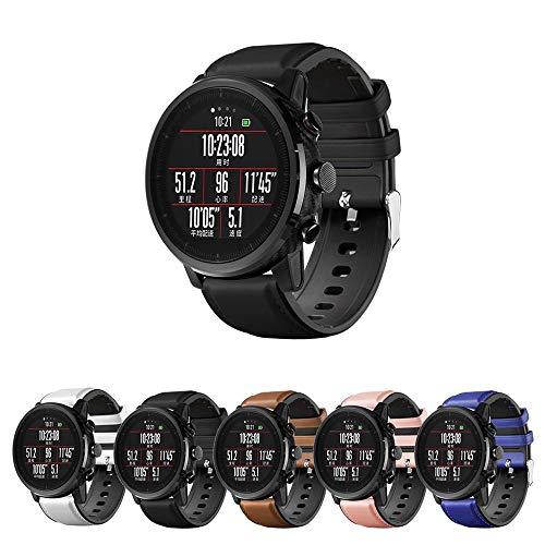 Pulseira Híbrida Couro e Silicone para Amazfit GTR 47mm - Samsung Galaxy Watch 46mm - Gear S3 Frontier - Gear S3 Classic - Marca Ltimports (Preto)
