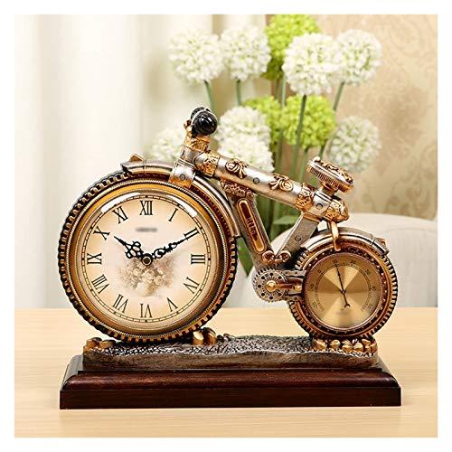 Xu Yuan Jia-Shop Reloj de Mesa Reloj de la Mesa de la Resina Creativa Reloj de la Sala de Estar Adornos de Relojes de batería con termómetro Sweeping Second Movimiento Reloj Retro de Mesa (Color : C)