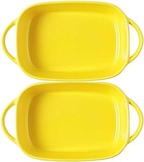 Mokpi Small Roasting Lasagna Pan Individual Ceramic Glaze Baking Dish Rectangular Casserole Baker for Oven Ovenware Bakewa...