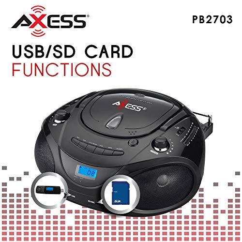 AXESS PB2703 Portable MP3/CD Boombox with AM/FM Stereo, USB, SD, MMC (Black)