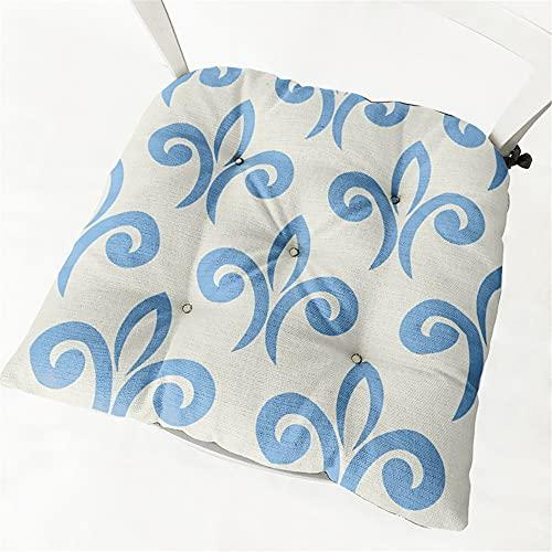 Chickwin Cojines para Silla con Correas de Sujeción, Elegante Estampado Pack 2 Cojín Decorativo de Asiento Cojines Acolchados de sillas para Terraza Jardín Sala Balcón (40x40cm,Azul Claro)