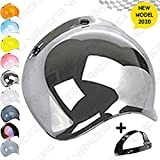 VRacing Visiera Casco 3 Bottoni Universale Casco jet e integrale Visiera Bubble a Bolla Custom retrò Vintage con meccanismo 3 altezze regolabile flip up incluso (Specchio Cromato)