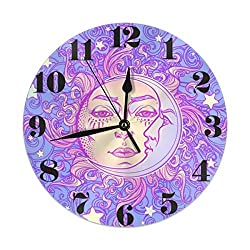 KiuLoam Vintage Magic Sun and Moon Round Wall Clock Silent Non Ticking Battery Operated Easy to Read for Student Office School Home Decorative Clock Art