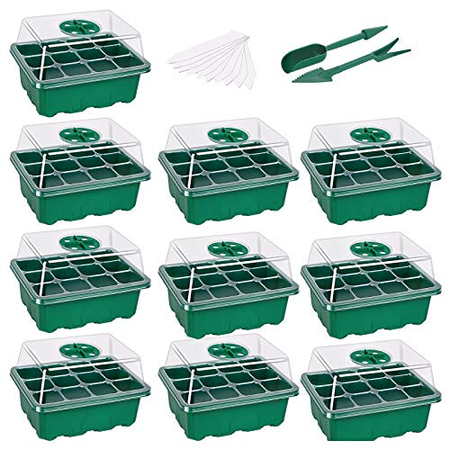 Seedling Tray,Seed Starter Tray Grow Trays Seed Propagator Tray Set Seedling Trays with Lid Plastic Seedling Seed Starter Trays Germination Growing Green