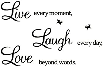 Live Every Moment,Laugh Every Day,Love Beyond Words,Wall Sticker Motivational Wall Decals,Family Inspirational Wall Sticke...