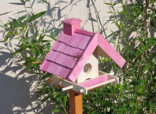 Vogelfutterhaus,BEL-X-VOWA3-pink002 Großes Vogelhäuschen + 5 SITZSTANGEN, KOMPLETT mit Futtersilo + SICHTGLAS für Vorrat PREMIUM Vogelhaus – ideal zur WANDBESTIGUNG – vogelhäuschen, Futterhäuschen WETTERFEST, QUALITÄTS-SCHREINERARBEIT-aus 100% Vollholz, Holz Futterhaus für Vögel, MIT FUTTERSCHACHT Futtervorrat, Vogelfutter-Station Farbe pink rosa rosarot süß, MIT TIEFEM WETTERSCHUTZ-DACH für trockenes Futter - 2