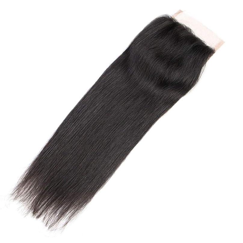 粘り強い男ファブリックYrattary 4 * 4ブラジルストレートヘア100%本物の人間の髪の束とのレースの閉鎖ナチュラルカラーヘアエクステンション(8