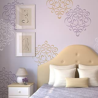 Ribbon Damask Wall Stencil - Large Classic Design for Painting Wall Art in Nursery or Bedroom