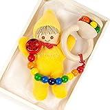 出産祝い ベビーギフト granpapa(グランパパ) ベビーぬいぐるみ 木のラトル おもちゃホルダー リサちゃんと天使のささやきのセット ギフトセット イエロー
