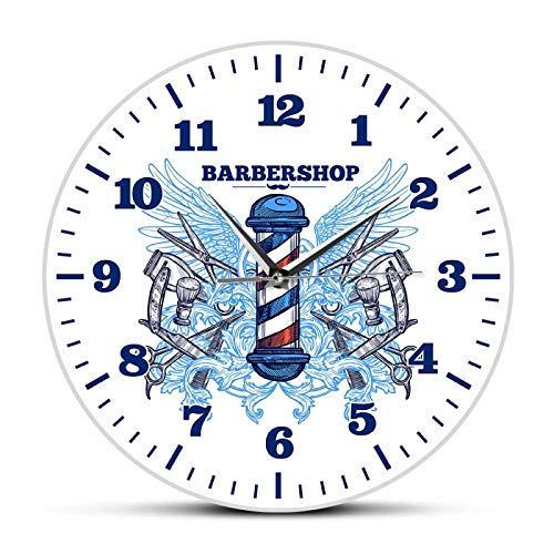 hufeng Reloj de Pared Peluquería Reloj de Pared de diseño Moderno Peluquería Cortador Poste Barrido silencioso Reloj de Cuarzo Hipster Hombre Club Decoración Reloj de Pared Colgante